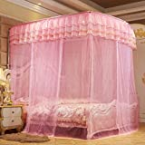 Bed Canopy,4 Corner Mosquito Net,Luxury Lace Curtain Netting,Lightweight Bed Drapes for Anti-Mosquito,Portable Easy to Install-Pink 120x200cm(47x79inch)