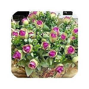 Artificial Flowers 10 15 Heads Rose Floral Bouquet Fake Flower Arrange Table Rose Wedding Decoration Silk,Rose red 33cm 5
