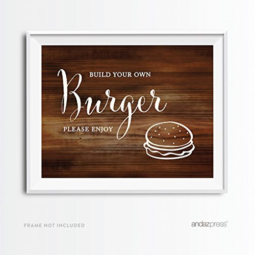 Price comparison product image Andaz Press Wedding Party Signs, Rustic Wood Print, 8.5x11-inch, Build Your Own Burger Bar Please Enjoy Reception Dessert Table Sign, 1-Pack