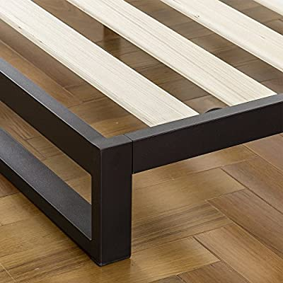 Zinus 7 Inch Low Profile Platforma Bed Frame / Mattress Foundation / with Tufted Headboard / Box Spring Optional / Wood Slat Support