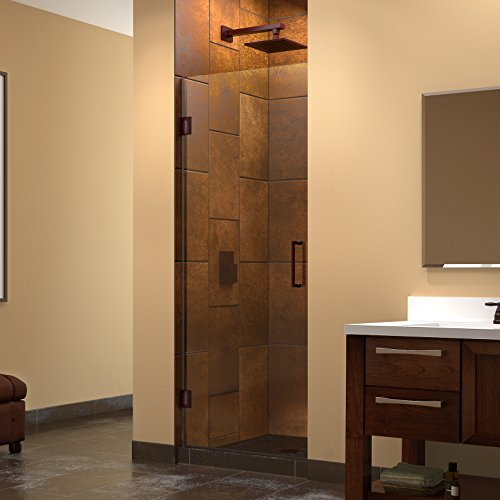 DreamLine Unidoor 24 in. W x 72 in. H Frameless Hinged Shower Door, Clear Glass, in Oil Rubbed Bronze, SHDR-20247210F-06