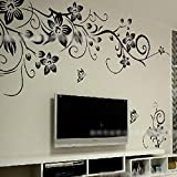 Home DIY Butterfly Flower Rattan Vinyl Paper Art Wall Sticker Decal Mural