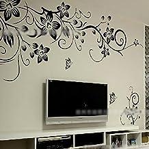 Home DIY Butterfly Flower Rattan Vinyl Paper Art Wall Sticker Decal Mural