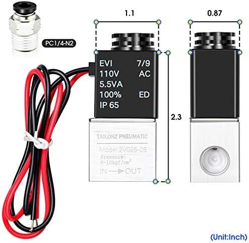 Tailonz Pneumaitc 1//8 inch NPT 12V//24V//110V//220V 3 Way 2 Position Normally Closed Solenoid Valve Solenoid air Valve 3V1-06