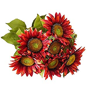 FightingFly Artificial Flowers, Silk Fake Sunflowers, 13 Heads Floral Decor Bouquet Indoor Outdoor Wedding Home Office Decoration Festive Furnishing, Red