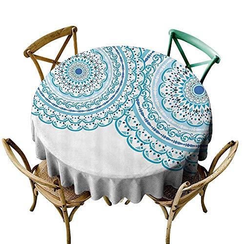 (StarsART Vintage tablecloths Mandala Decor,Wedding Invitation Card Theme Lace Mandala and Place for Text Print,Sky Blue Light Blue D60,Round Tablecloth)