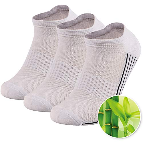 (Bamboo Low Cut Socks, Sunew Premium Super Soft Moisture Wicking Ankle Socks for Sweaty Feet,Seamless Cushioned Summer Breathable Running Socks White 3 Pairs S)