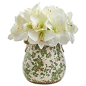 Nearly Natural 1873-WH Amaryllis Artificial Floral Print Vase Silk Arrangements White 31
