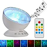 TOMNEW Remote Control Ocean Wave Projector Aurora Night Light Lamp 7 Colorful Light with Bulit-in Speaker Music Player For Baby Kids Adults Bedroom Living Room (White)