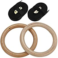 Pellor High-density Wooden Gymnastics Rings Olympic Gym Workout Exercise with Buckles Straps for Upper Body Strength Fitness Xzone Bodyweight Excercising Suspension Training