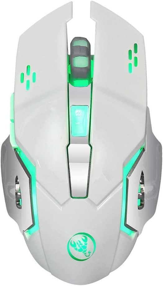 White Brave669 USB 2400dpi Wireless Mouse Colorful Breathing Backlight Optical Mice for Gamer