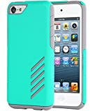 iPod 5 Case, iPod 6 Case, BENTOBEN Dual Layer iPod Touch 6th Generation Hybrid Case Hard PC Shell Flexible TPU Bumper Shockproof Protective Case for iPod Touch 5/ iPod Touch 6, Mint Green/Grey