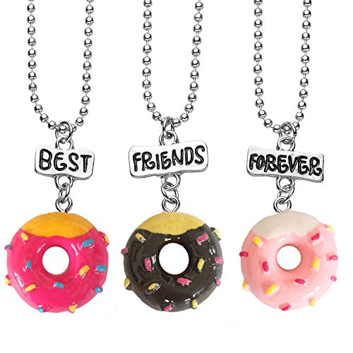 2/3/4 Packs Hand Painting Donuts Favors Best Friends Forever Gift BFF Pendant Necklaces Set (3-Pack)