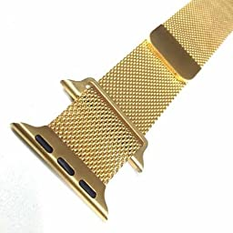 LINGLU Apple Watch Band with Unique Magnet Lock, no Buckle Needed, 38mm Milanese Loop Stainless Steel Bracelet Strap Bands for Apple Watch All Models - Gold