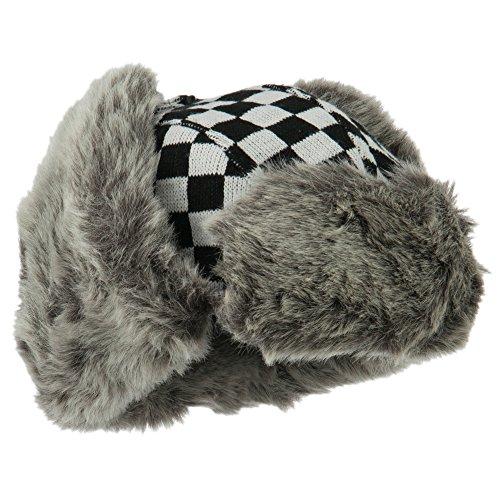 Jacquard Checkered Trooper Hat - Black OSFM