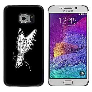 MobileHut / Samsung Galaxy S6 EDGE SM-G925 / Guitar Music Minimalist Black White / Delgado Negro Plástico caso cubierta Shell Armor Funda Case Cover