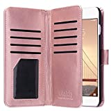 iPhone 6 Plus Case, iPhone 6s Plus Case, ULAK PU Leather Magnet Wallet Credit Card Holder Flip Case Cover with Built-in 9 Card Slots For Apple iPhone 6 Plus/iPhone 6s Plus 5.5 inch (Rose Gold)