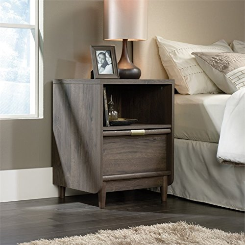 Solid Oak Bedside Table (Sauder International Lux Nightstand in Fossil Oak)