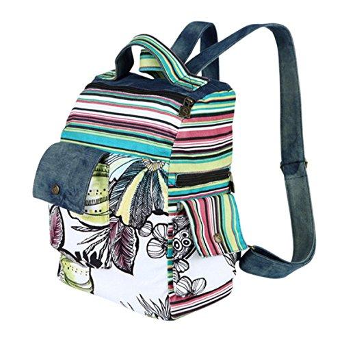 Scuola Tela Viaggio Ahatech Daypacks Casual nbsp;stile Preppy Donna Vintage 3 3 Zaino Per Paesaggio Style Floral 5w47f