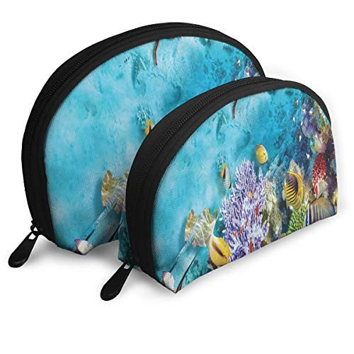 Exotic Coral Reef (JDISJLJ Cosmetic Travel Bag,Tropical and Exotic Coral Reefs Fish School Portable Shell Makeup Storage Bag Travel Organizer Case Makeup Bag)