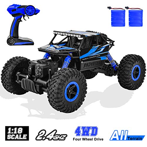 GotechoD RC Car Off Road Remote Control Truck Monster Vehicle 4WD 1: 18 Scale Remote Control Car High Speed 2.4Ghz Radio Controlled Climbing Racing Crawler Toys for Boys Kids Adults Gifts Blue from GotechoD