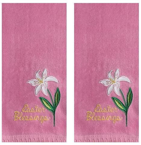 Celebrate Easter Together 2-Pack Embroidery White Lily Decorative Cotton Hand Towels, Pink