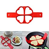 Pancake Mold, Oksale 2017 New Silicone Fantastic Fast & Easy Way to Make Perfect Panicakes Nonstick Surface (4 Grids - Heart)