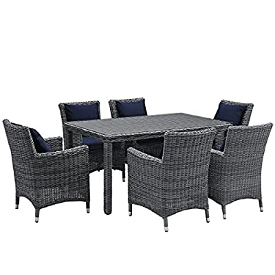 Modway Summon 7 Piece Outdoor Patio Dining Set With Sunbrella Brand Navy Canvas Cushions - PATIO REFRESH - Update your backyard or porch with inviting modern patio dining furniture. Effortlessly accommodate the needs of your guests while creating the perfect outdoor patio dining setting OUTDOOR DINING - Enjoy dinner under the stars or a sunny lunch on the patio with this outdoor dining set. Accommodating up to 6 people, the patio set includes a table and six armchairs with cushions CONTEMPORARY STYLE - Updating decks and backyards, the durable collection boasts clean lines and modern appeal. All-weather cushions and machine washable Sunbrella® fabric covers grant stylish comfort - patio-furniture, dining-sets-patio-funiture, patio - 51v 7Iavd8L. SS400  -