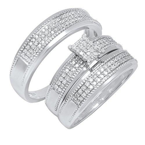 Dazzlingrock Collection 0.55 Carat (ctw) 10K Round White Diamond Men & Women's Ring Trio Set 1/2 CT, White Gold ()
