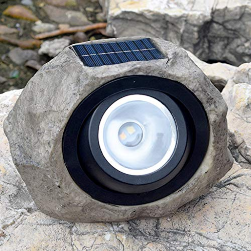 (FlurriesLED Outdoor Solar Lights - Rock Stone Simulated Spot Lights - Waterproof Lamp - Sun Powered Automatic Latern - Landscape Decorative for Patio Garden Yard Lawn (Gray))