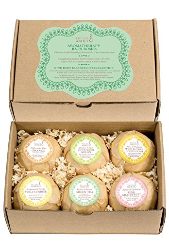 Bath Bomb Gift Set of 6 Essential Oil Premium Holiday Bath Fizzies. Bubble & Spa Skin Hydration & Wellness for Women, Mom, Girls, Teens, Her, Mind and Body Balance Aromatherapy Fragrances.