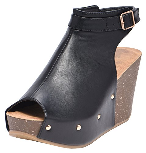 Cambridge Select Women's Peep Toe Buckle Ankle Strap Studded Platform Wedge Sandal (9 B(M) US, Black)