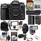 Nikon D500 Wi-Fi 4K Digital SLR Camera Body 64GB Card + Backpack + Flash + LED Light + Mic + Battery & Charger + Grip + Kit