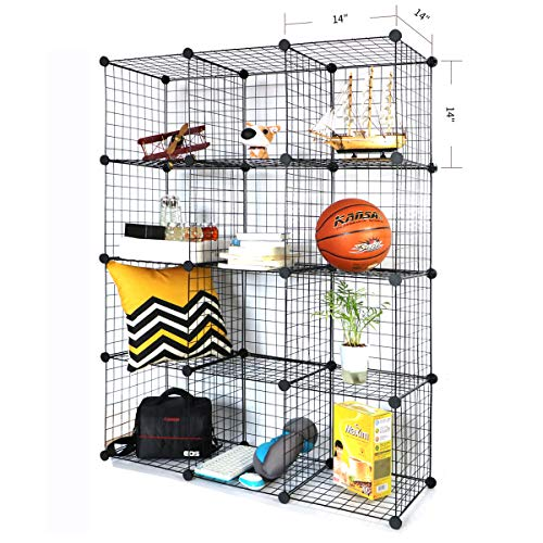Mesh Shelving (BRIAN & DANY Metal Wire Storage Cubes, DIY 12-Cube Closet Cabinet and Modular Shelving Grids, Wire Mesh Shelves and Rack, Black)