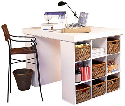 Venture Horizon Project Center Desk with 2 Bookcase Sides-White -