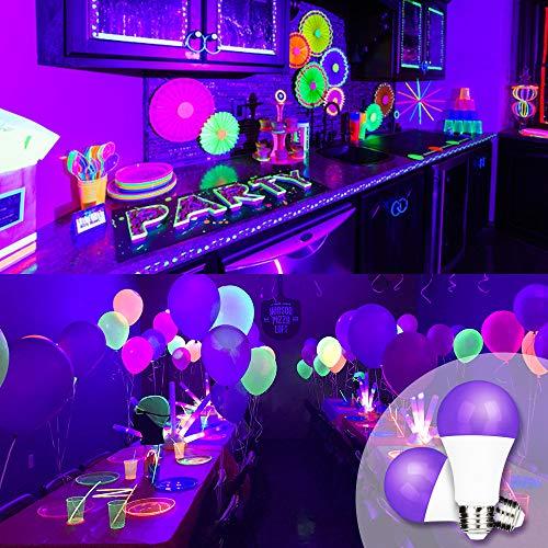 FAGUANGAO UV A19 9W LED Black Light Bulb, UVA Level 390-400nm,E26 Medium Base 100-240V, Glow in The Dark for Blacklight Party, Fluorescent Poster, Neon Glow(2 Pack)