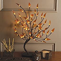 Decorative 22-inch Tall Brown Wrapped Amber Leaf Lighted Tree, with 56 Warm White LED Lights