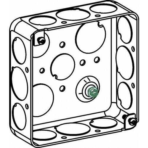 Orbit D4SB-50/75 Electric Box, 1 1/2'' Deep w/1/2 & 3/4'' Knockouts - 4'' Square