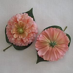 "3.75"" Pink Orange Variegated Zinnia Flower Head (4) 96"