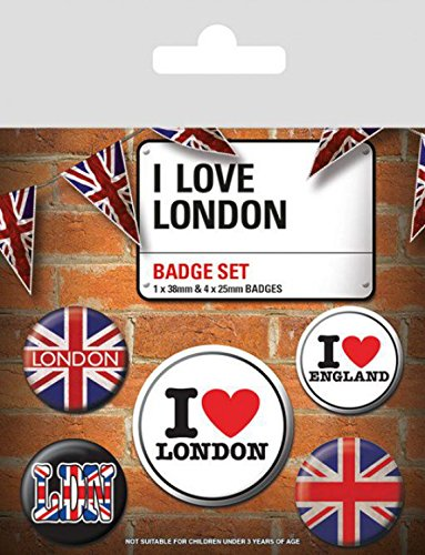 Londres Paquet De Badges I Love London 1 X 38mm /& 4 X 25mm Badges 15 x 10 cm