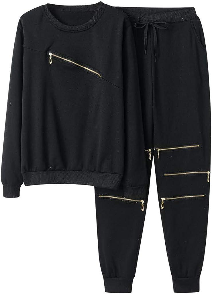 GNYD Womens Casual Sportswear Sweat 2Pcs Suit,Solid Colour Casual Sweatshirt Coats,Print Trousers Jogger Pants Sets Outfit,Ladies Loose Tracksuit Black Gray S,M,L,XL