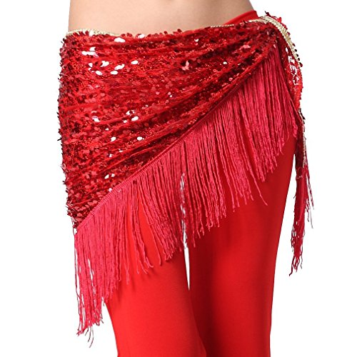 ZLTdream Women's Belly Dance Hip Scarf with Tassel Red