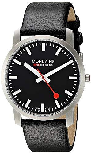 Mondaine SBB Simply Elegant 41mm A6383035014SBB Reloj de Pulsera Cuarzo Hombre Correa de Cuero Negro