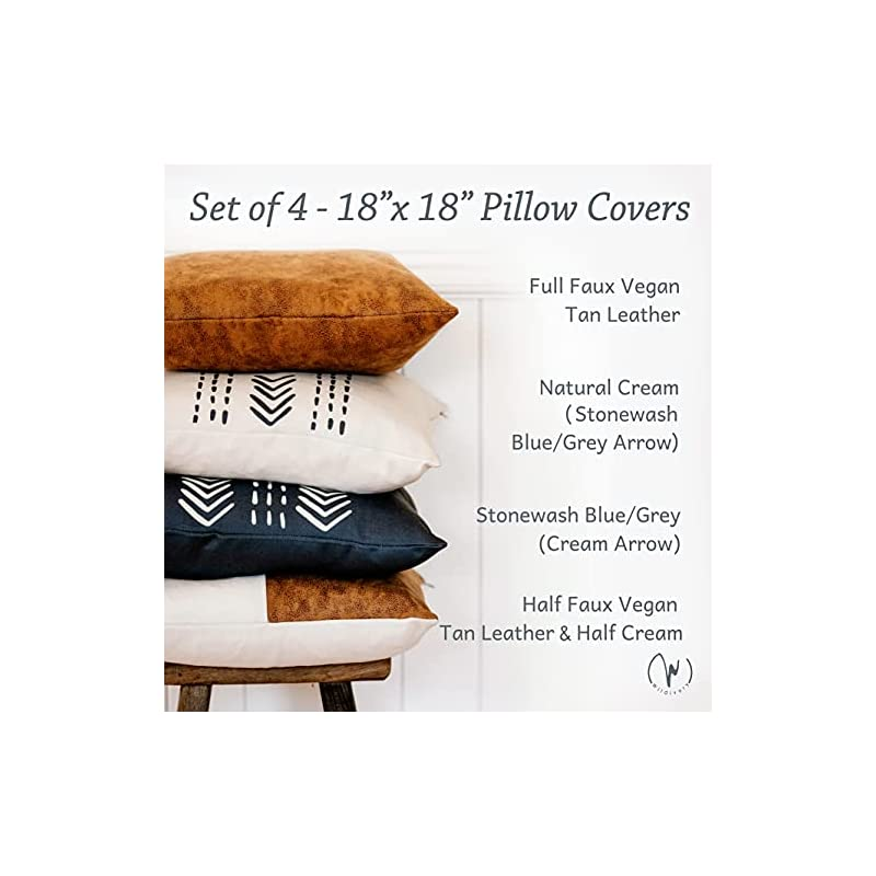 WILDIVORY Decorative Throw Pillow Covers for Couch, Boho Pillow Covers 18x18 Set of 4, Modern Farmhouse Pillow Covers…
