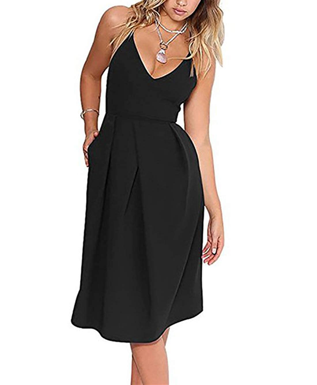 6ed5c469 Woemens Dresses: Cotton blend. Party dresses for women: Sleeveless Skater  Dress, Deep V Neck style, Sexy and Beautiful Zipper closure