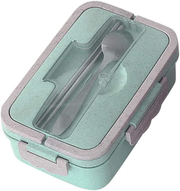 1000ml Bento Box Microwavable Safe Leakproof Bento Lunch Box 3 Compartment Food Storage Container for Kids Adults with Stainless Steel Chopsticks Spoon (Green)