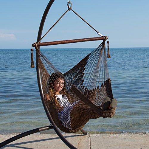 Caribbean Hammock Chair with Footrest - 40 inch - Soft-spun Polyester - (Mocha) - Caribbean Hammock