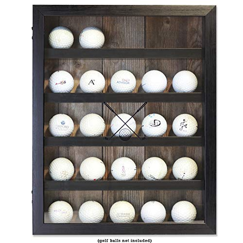 Lawrence Frames 11x14 Golf Display Case-Holds 25 Logo Balls Shadow Box Frame Black ()
