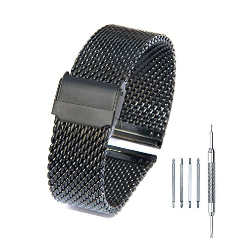 20mm Mesh Stainless Steel Bracelet Wrist Watch Band Strap with Double Buckles Interlock Safety Clasp Black Black Classic Watch Band