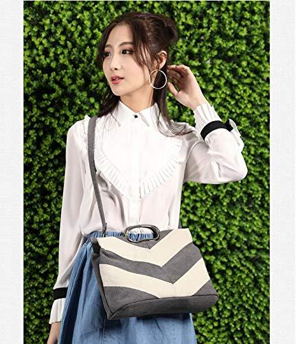 Casuales Mano con gris niña Mujer para de única Costuras Wei marrón Mujer Lona fei Talla de Bolso qwYax87t
